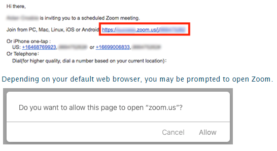 A screenshot of a Zoom meeting invite that displays links to launch a Zoom meeting. It also shows meeting call-in phone numbers.