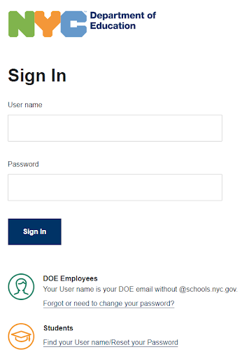 A screenshot of The NYC DOE's Single Sign On (SSO) screen with two fields: one for the username and one for the password.  In addition, there are links to reset the user's password if it's been forgotten.