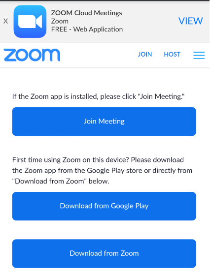 "A screenshot of The Zoom Meeting page that displays the following options: ""Join Meeting,"" ""Download from Google Play"" and ""Download from Zoom."""