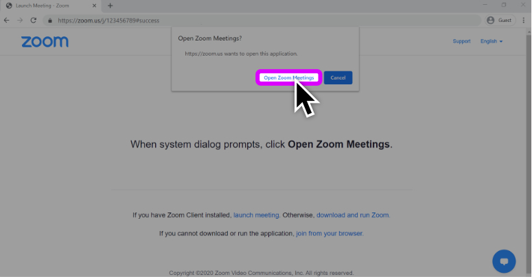 "A screenshot of Zoom launching page that displays instructions on how to initiate the ZOOM application by clicking the ""Open"" button."